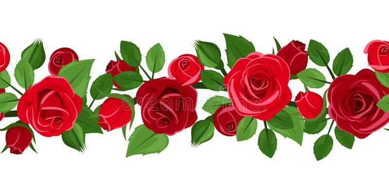 Horizontaler nahtloser Hintergrund mit roten Rosen. lizenzfreie abbildung