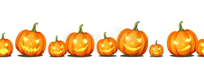 Horizontaler nahtloser Hintergrund mit Steckfassung-O ` - Laternen Halloween-Kürbise Vektor EPS-10 vektor abbildung