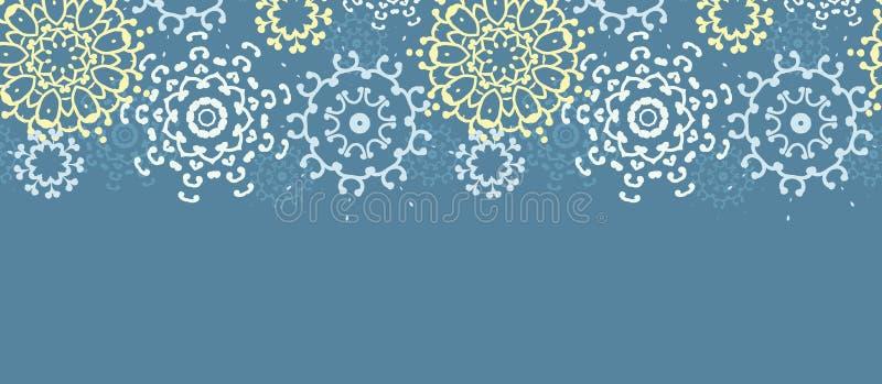 Horizontaler nahtloser Musterhintergrund der gelben grauen abstrakten Mandalen stock abbildung