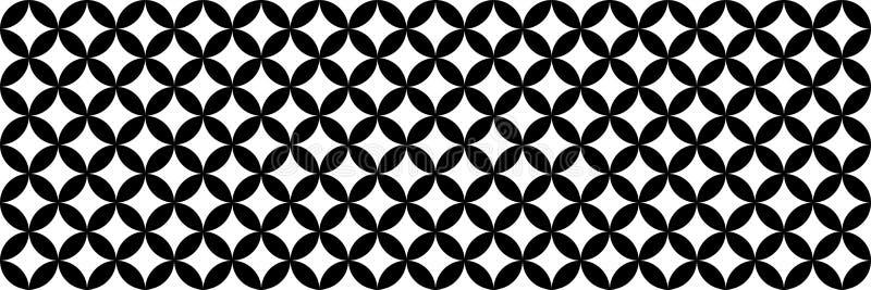 horizontaler Schwarzweiss-Kreisbeschaffenheitsentwurf für Muster und Hintergrund lizenzfreie abbildung
