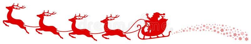 Horizontaler Weihnachtspferdeschlitten Santa And Flying Reindeers Swirl rot lizenzfreie abbildung