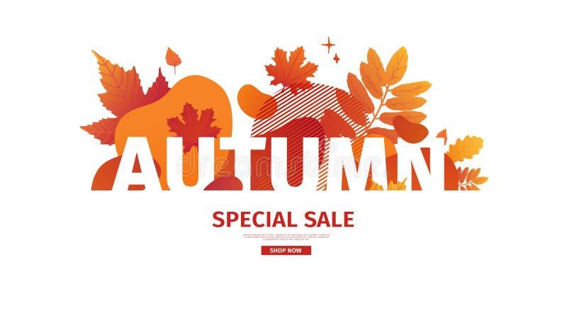 Horizontales abstraktes geometrisches Design für Herbstförderung Fallangebotfahne mit flüssiger Form des Vektors und Dekorahorn stock abbildung
