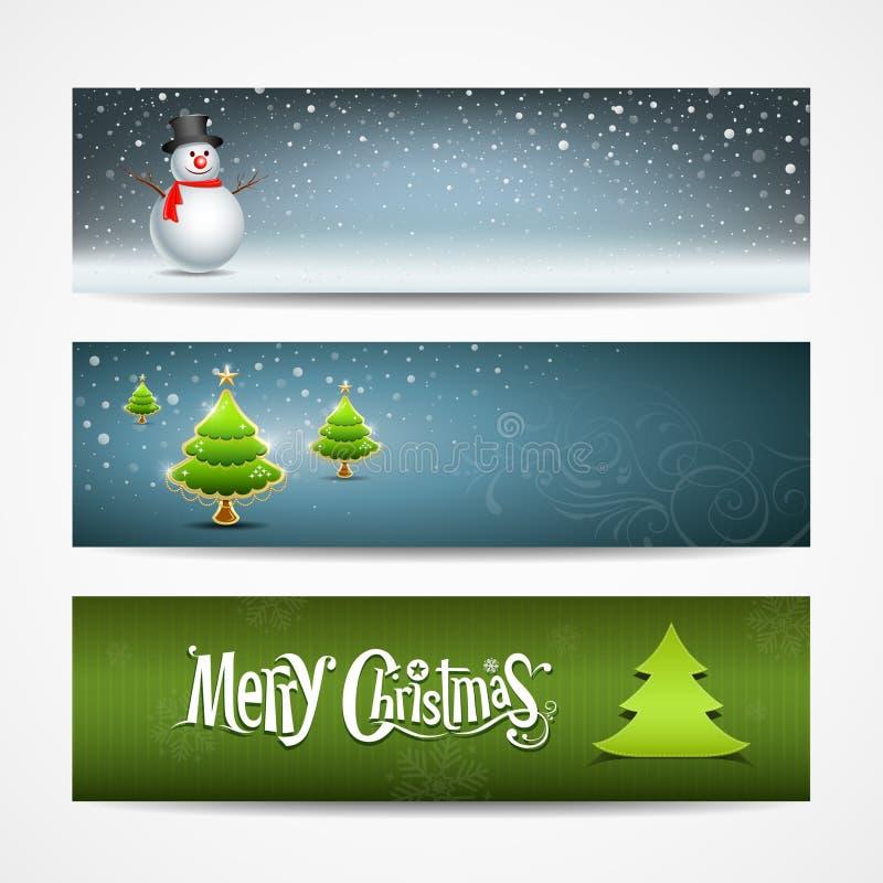 Horizontales backgrou Auslegung der Fahnen der frohen Weihnachten stock abbildung