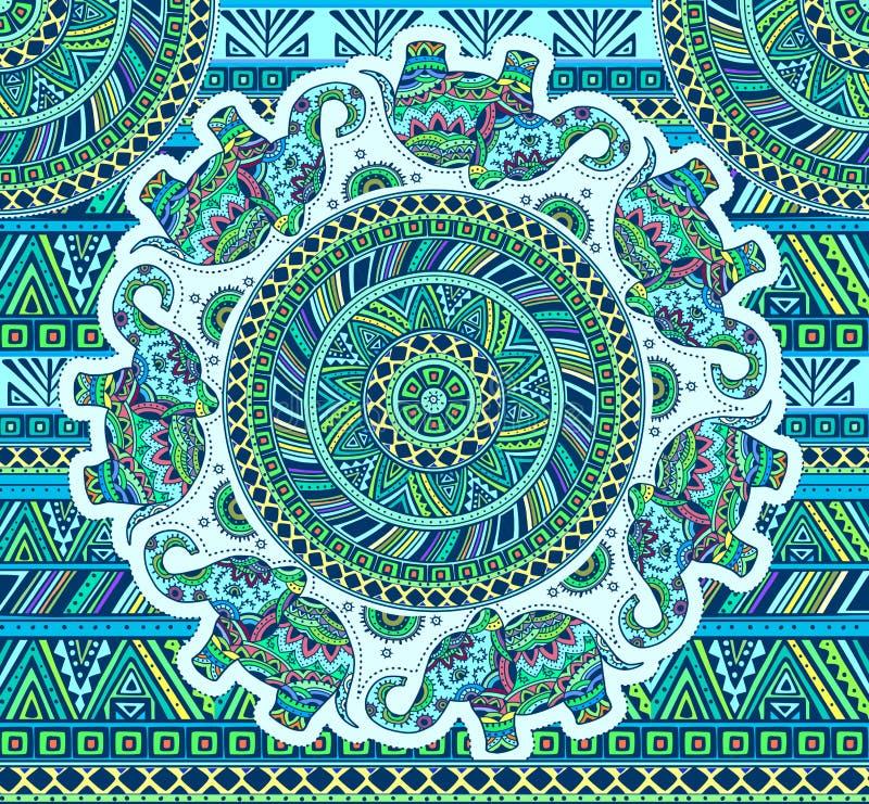 Horizontales blaues Muster mit Elefanten und ethnischen Elementen stock abbildung