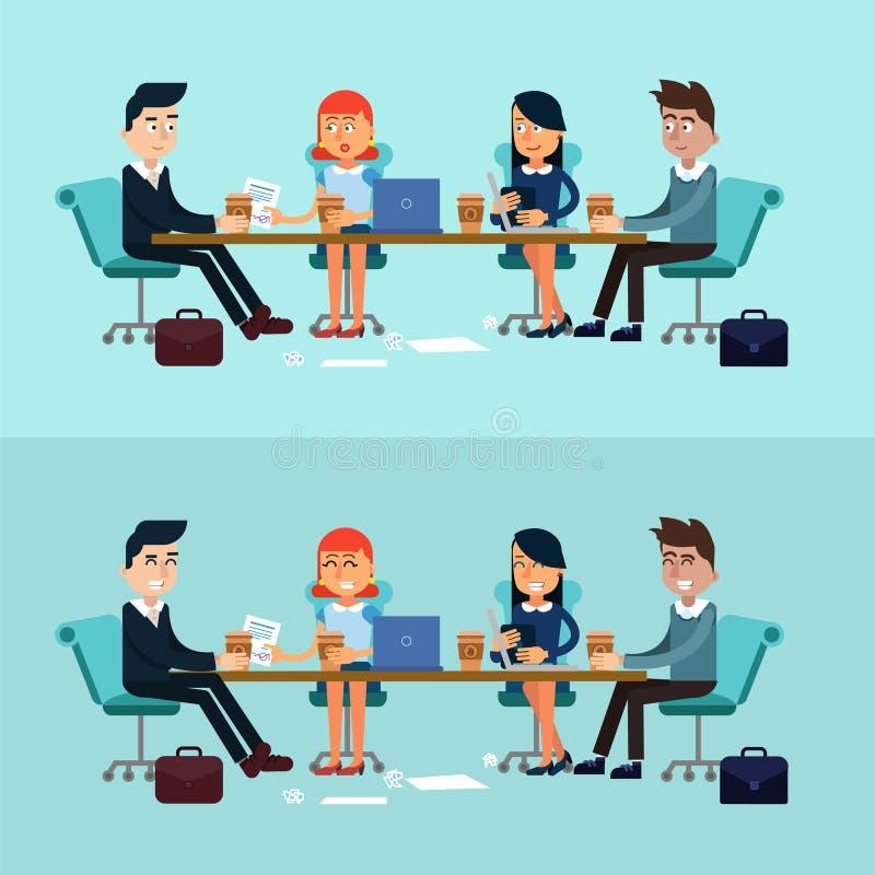 Horizontales Fahnen-Geschäftstreffen, Teamwork lizenzfreie abbildung