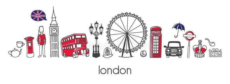 Horizontales Fahnendesign des Vektors mit berühmten Symbolen von London lizenzfreie abbildung