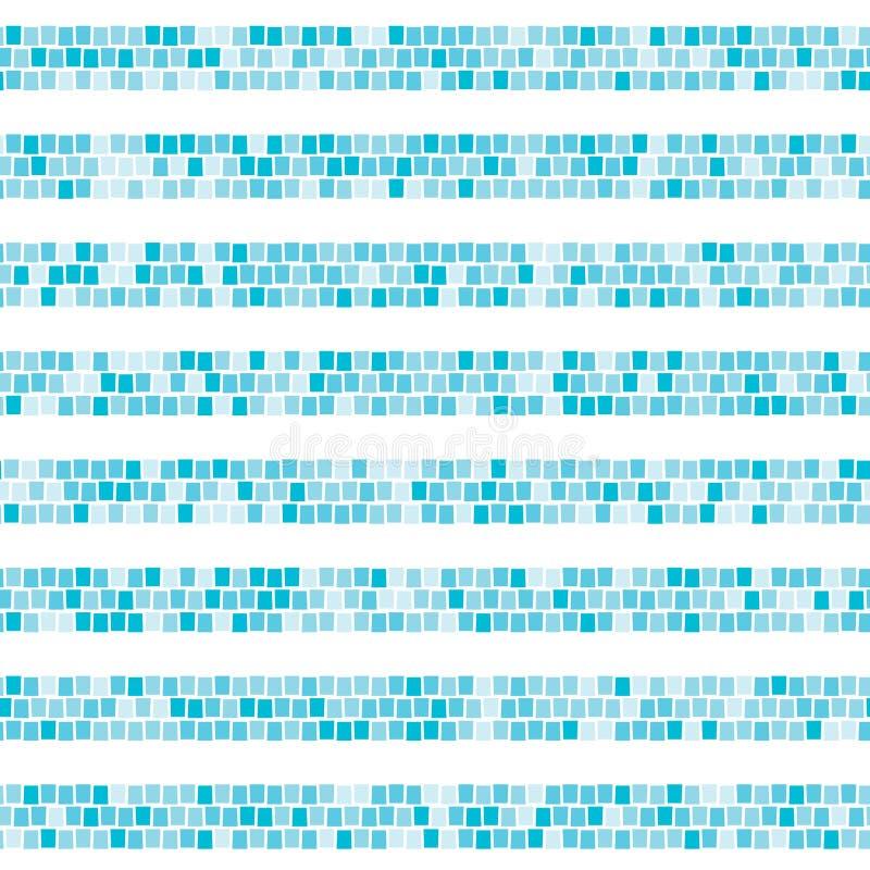 Horizontales gestreiftes nahtloses Muster des blauen abstrakten Mosaiks Keramikziegel zersplittert endlosen Beschaffenheit Vektor vektor abbildung
