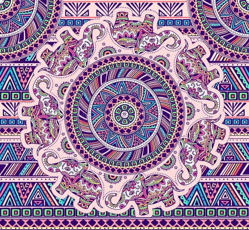 Horizontales Muster mit Elefanten und ethnischen Elementen stock abbildung