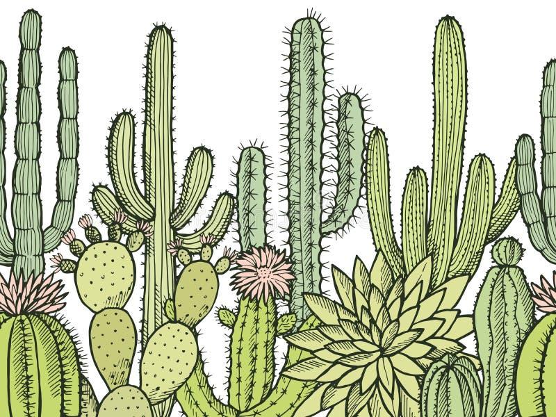 Horizontales nahtloses Muster mit Illustrationen von wilden Kakteen lizenzfreie abbildung