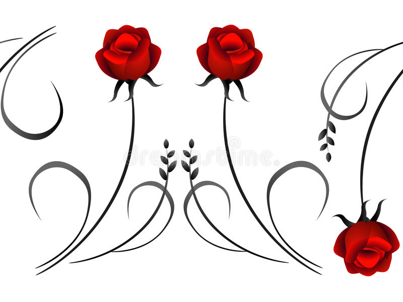 Horizontales nahtloses Muster mit roten Rosen stock abbildung