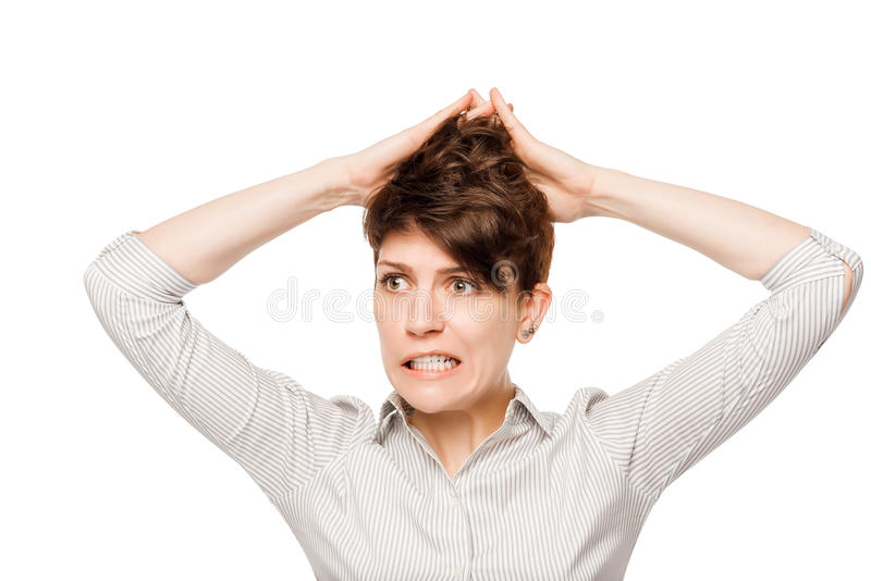 Horizontales Porträt der emotionalen Wahnsinnige auf einem Weiß stockfoto