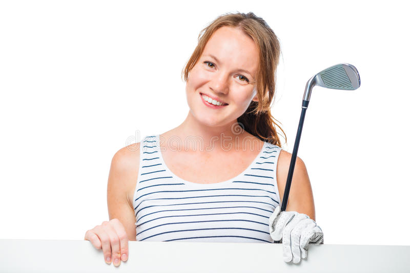 Horizontales Porträt eines Golfspielers mit einem Plakat auf einem Weiß stockfotos