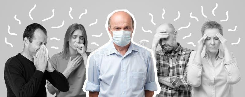 Horizontales Porträt einiger Männer und Frauen, die Grippe haben Männer in der mittleren tragenden speziellen Maske lizenzfreie stockbilder