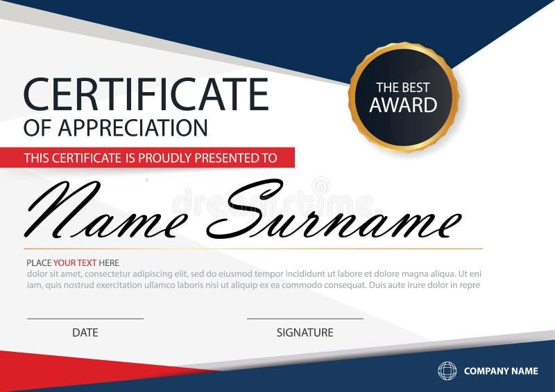 Horizontales Zertifikat blaues Rot Eleganz mit Vektorillustration, weiße Rahmenzertifikatschablone mit sauberem und modernem Must lizenzfreie abbildung