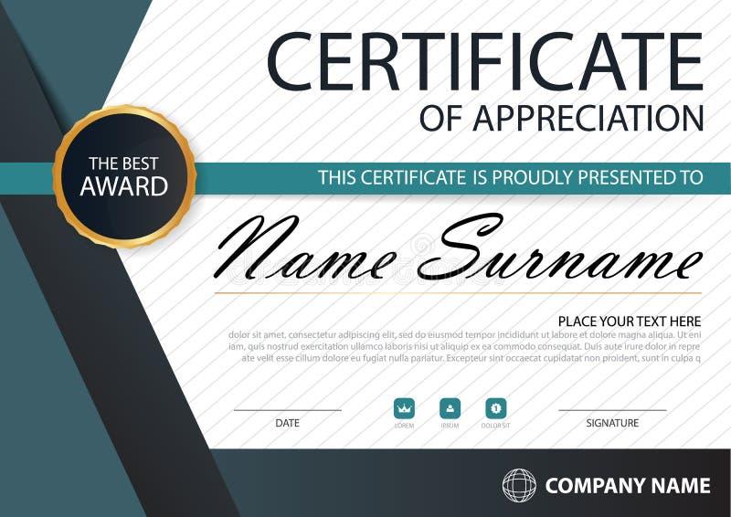 Horizontales Zertifikat blaues Schwarzes Eleganz mit Vektorillustration, weiße Rahmenzertifikatschablone mit sauberem und moderne lizenzfreie abbildung