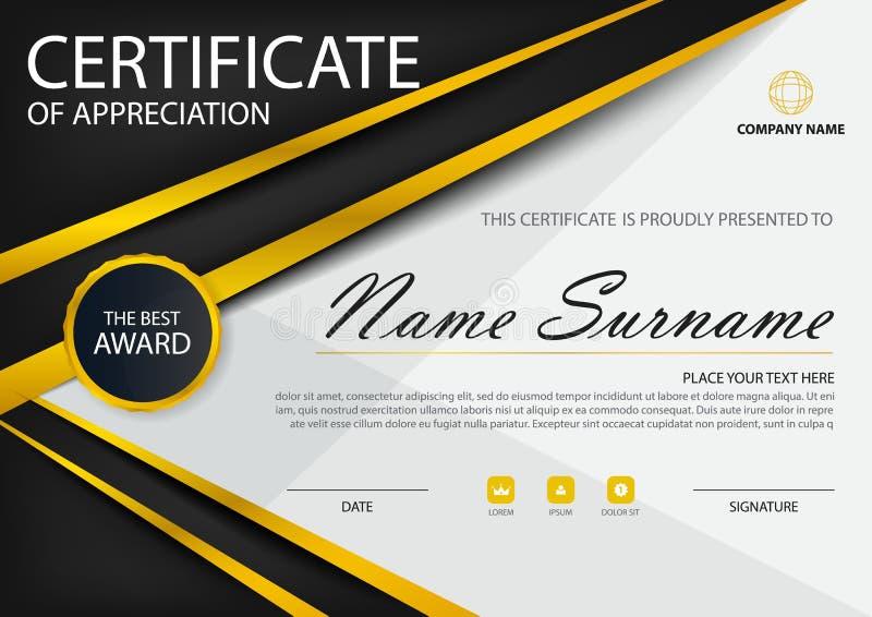Horizontales Zertifikat der Goldschwarzen Eleganz mit Vektorillustration, weiße Rahmenzertifikatschablone mit sauberem und modern stock abbildung