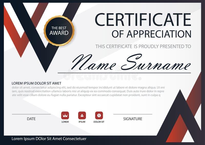Horizontales Zertifikat der roten schwarzen Eleganz mit Vektorillustration lizenzfreie abbildung