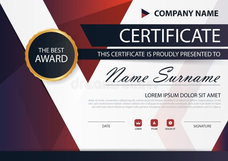 Horizontales Zertifikat der roten schwarzen Eleganz mit Vektorillustration, weiße Rahmenzertifikatschablone mit sauberem und mode lizenzfreie abbildung