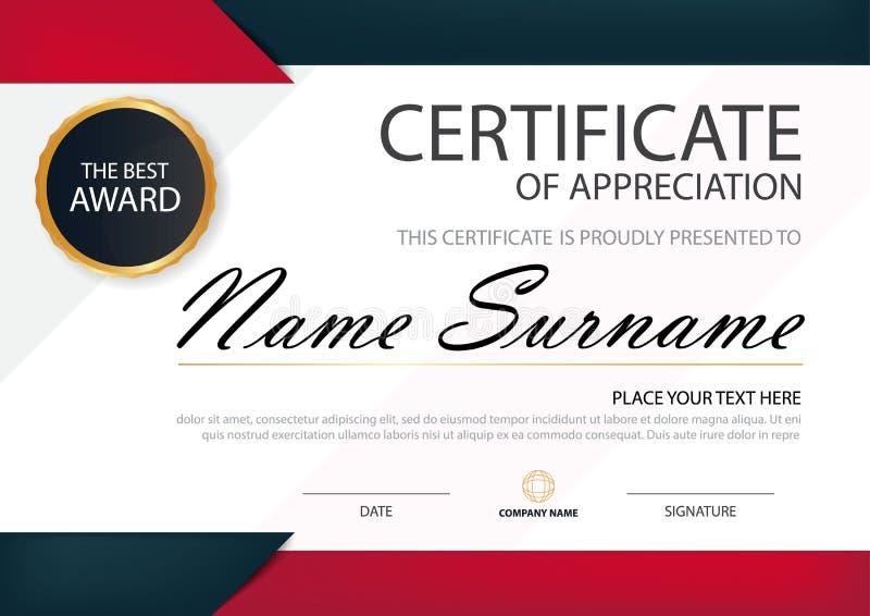 Horizontales Zertifikat der roten schwarzen Eleganz mit Vektorillustration, weiße Rahmenzertifikatschablone mit sauberem und mode stock abbildung