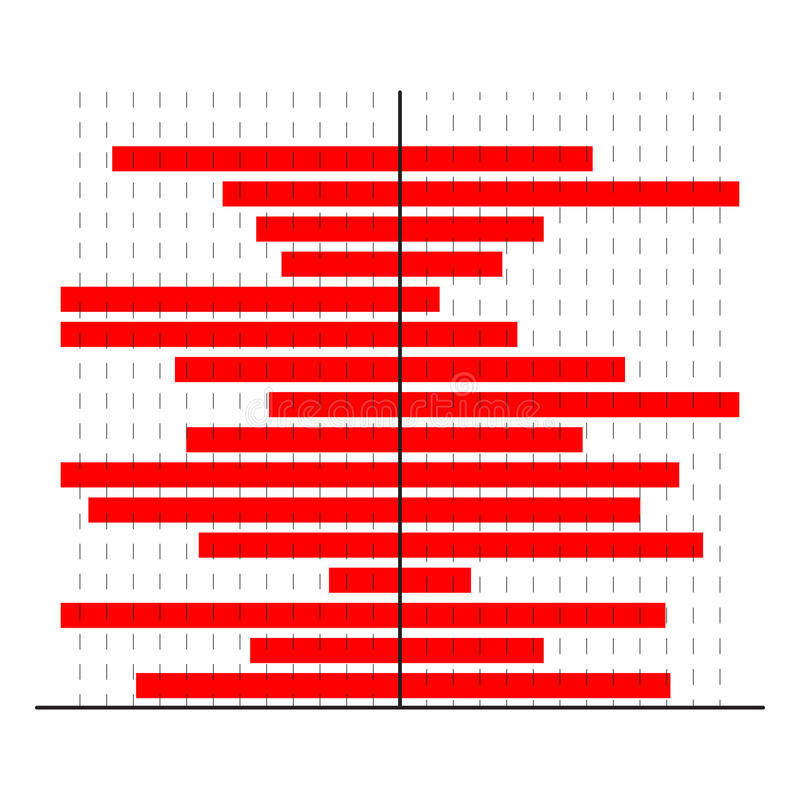 Horizontally red bars chart stock illustration
