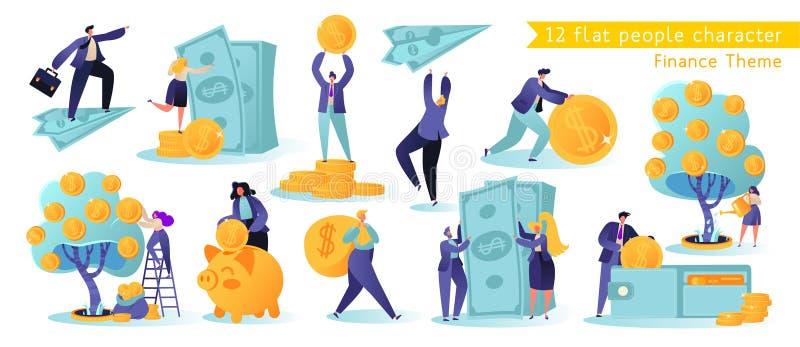 Horizontalmente, ?artoon, coleção da ilustração do vetor Caráteres bem sucedidos diferentes dos povos que fazem o dinheiro ilustração stock
