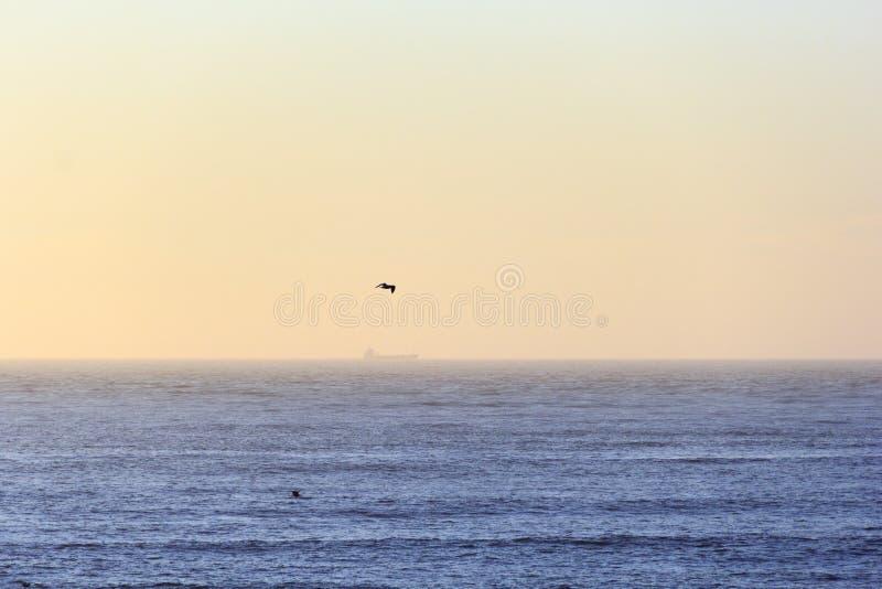 Horizonte anaranjado escénico con la línea perfecta del horizonte con el mar imágenes de archivo libres de regalías