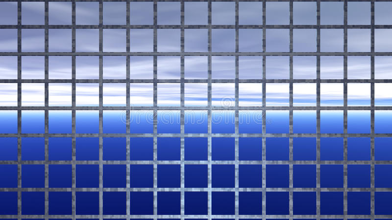 Horizonte atrás das barras de ferro - captiveiro abstrato ilustração stock