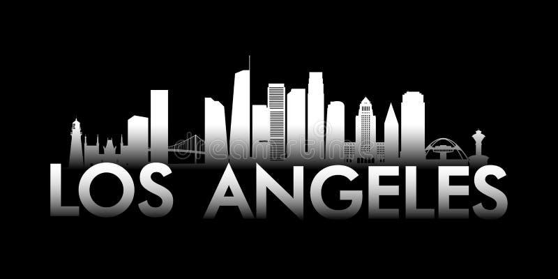 Horizonte blanco de la ciudad de Los Angeles en fondo negro stock de ilustración