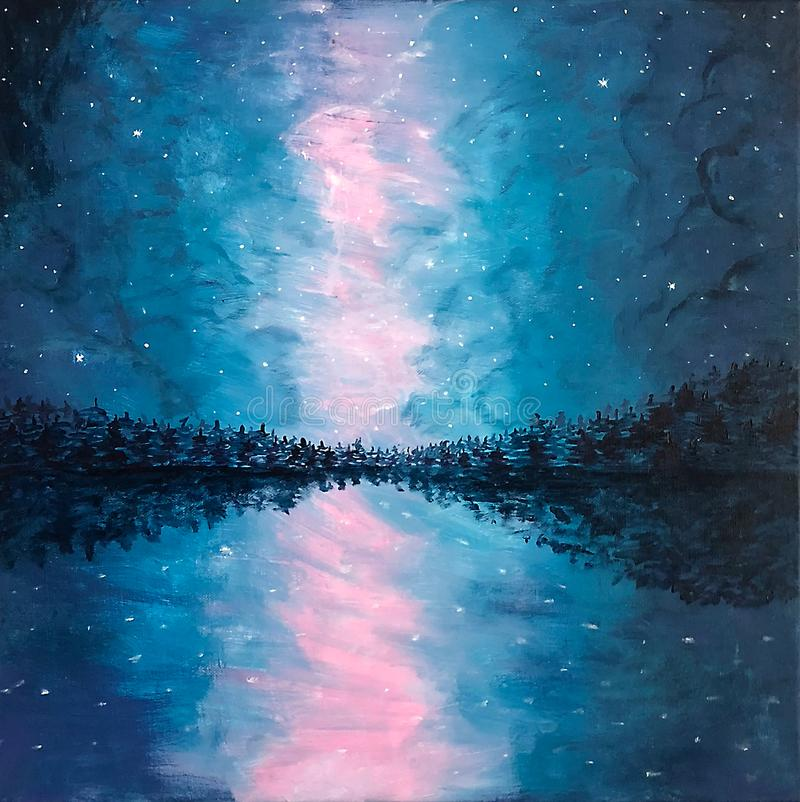 Horizonte bonito com árvores e um céu brilhante na noite - acrílico imagem de stock