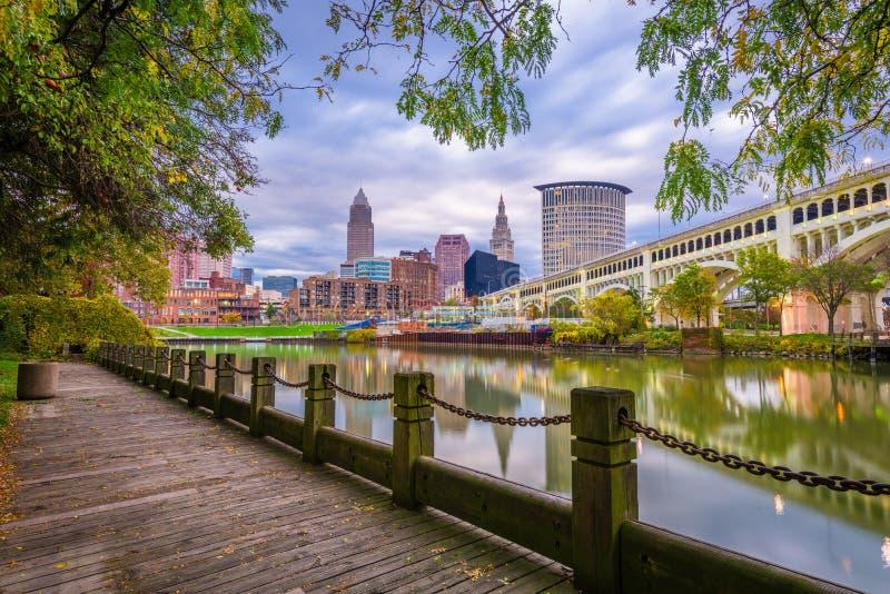 Horizonte céntrico de Cleveland, Ohio, los E.E.U.U. foto de archivo libre de regalías