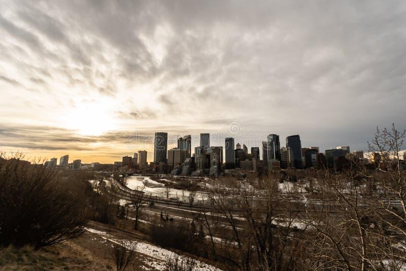 Horizonte céntrico 12 de enero de 2019 - Calgary, Alberta - de Canadá - de Calgary foto de archivo