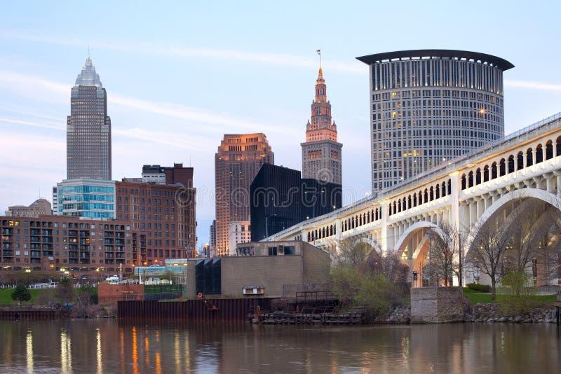 Horizonte céntrico de la ciudad de Cleveland imágenes de archivo libres de regalías
