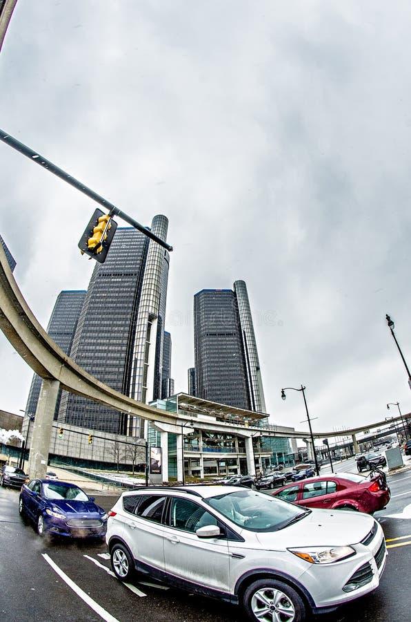 Horizonte céntrico de la ciudad de Detroit Michigan foto de archivo libre de regalías