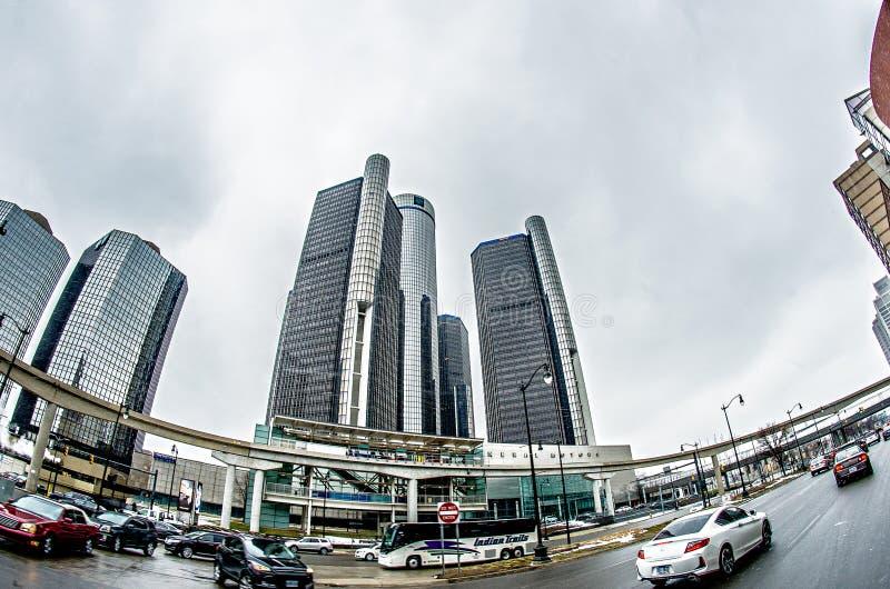 Horizonte céntrico de la ciudad de Detroit Michigan fotos de archivo