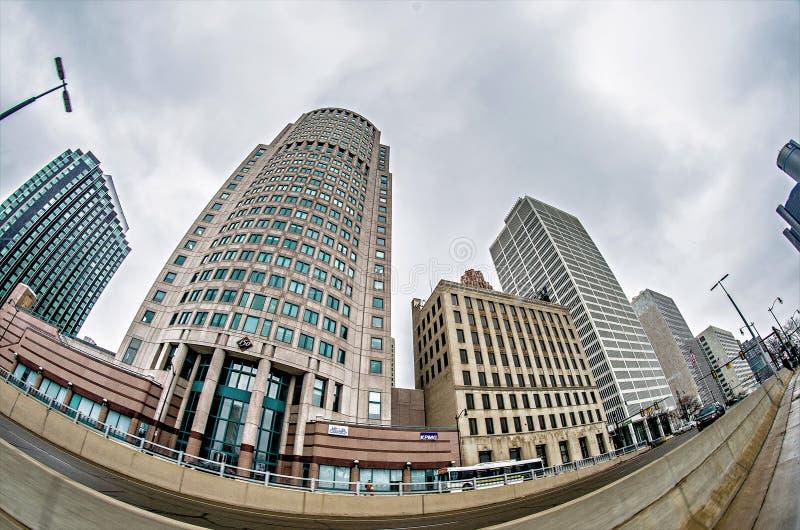 Horizonte céntrico de la ciudad de Detroit Michigan fotografía de archivo