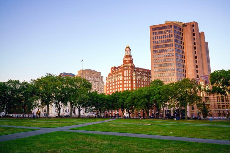 Horizonte céntrico de New Haven en el crepúsculo imagen de archivo libre de regalías