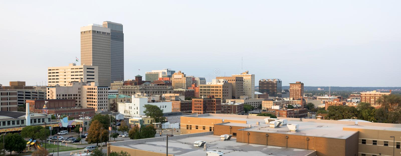 Horizonte céntrico Omaha Nebraska Urba de la ciudad de la arquitectura de los edificios imagen de archivo