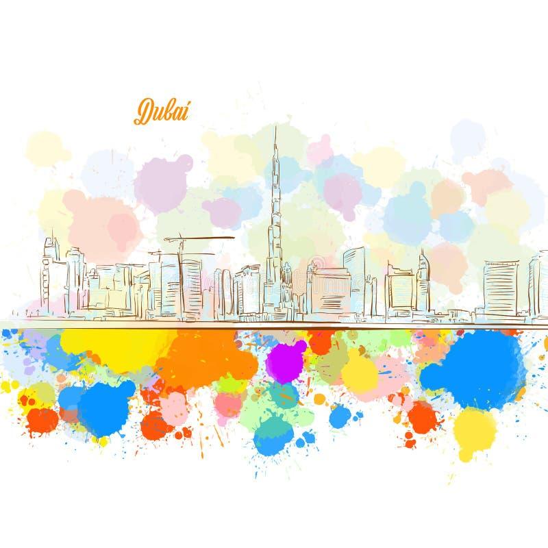Horizonte colorido de la ciudad de Dubai stock de ilustración