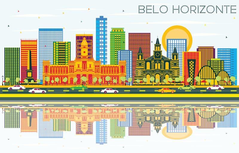 Horizonte con los edificios del color, cielo azul de Belo Horizonte el Brasil y ilustración del vector
