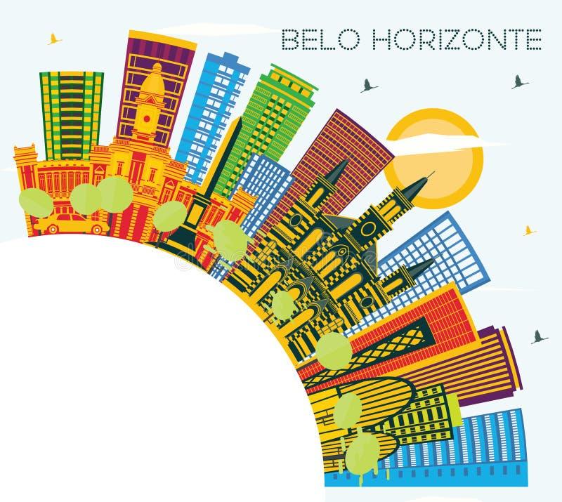 Horizonte con los edificios del color, cielo azul de Belo Horizonte el Brasil y libre illustration