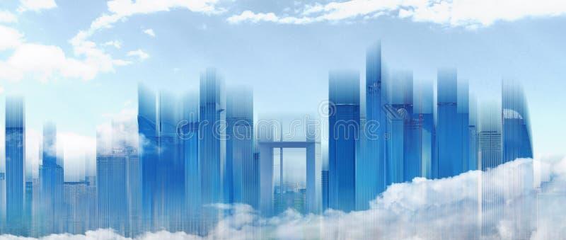 Horizonte constructivo moderno del extracto en la ciudad con el cielo azul y las nubes blancas Fondo abstracto de la ciudad imagen de archivo
