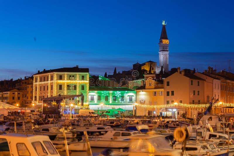 Horizonte Croacia del puerto y del rovinj imágenes de archivo libres de regalías
