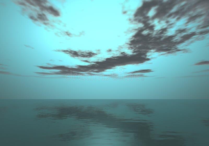 Horizonte da Aurora - por do sol da cerceta acima do horizonte de mar imagem de stock
