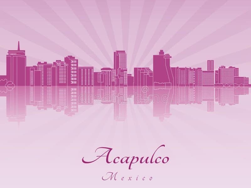 Horizonte de Acapulco en orquídea radiante púrpura ilustración del vector