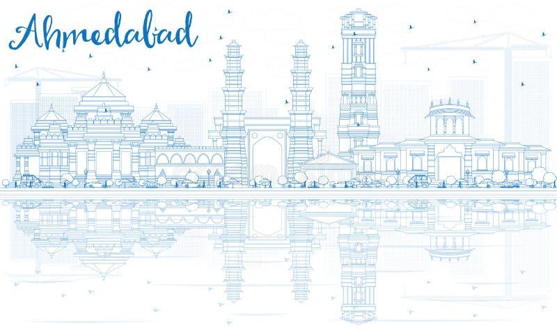 Horizonte de Ahmadabad del esquema con los edificios azules y las reflexiones ilustración del vector