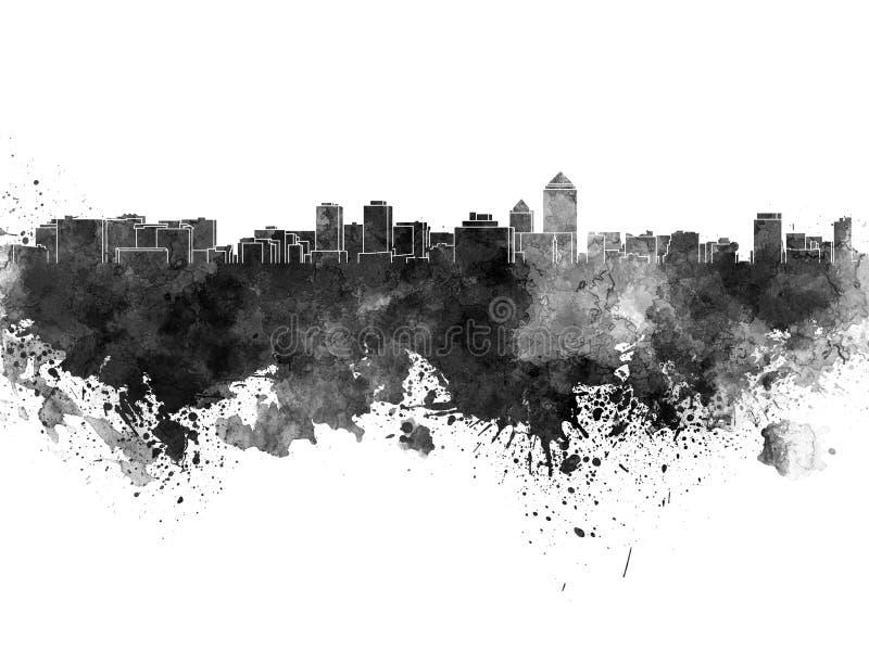 Horizonte de Albuquerque en acuarela negra libre illustration