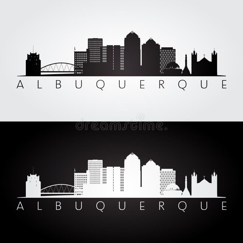 Horizonte de Albuquerque los E.E.U.U. y silueta de las señales ilustración del vector