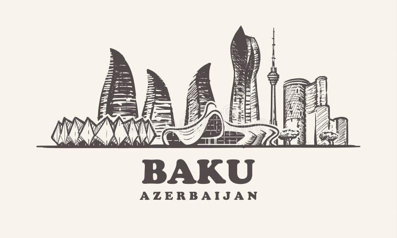 Horizonte de Baku, ejemplo del vector del vintage de Azerbaijan, edificios exhaustos de la mano libre illustration
