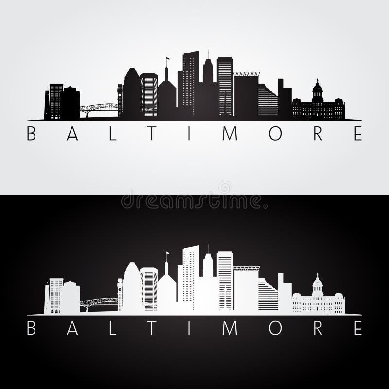 Horizonte de Baltimore los E.E.U.U. y silueta de las señales ilustración del vector