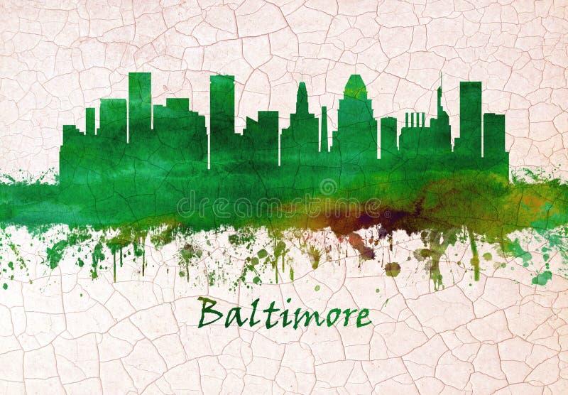Horizonte de Baltimore Maryland ilustración del vector